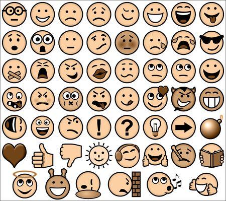 sepia de la vendimia estilo retro conjunto emoticon