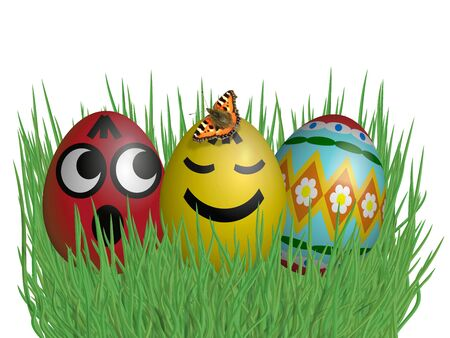 tuft: Easter eggs on grass isolated on white background Stock Photo
