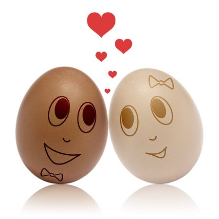 romance: Two eggs in love with heart romance