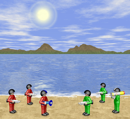 soldiers: Toy soldiers in sunny landscape