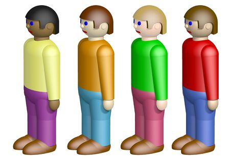 racism: Toy nationalities isolated on white background