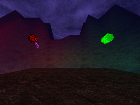 murk: Dark crater with crystals in mountaints background
