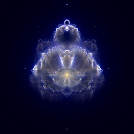 Buddhabrot - fractal Buddha on night starry sky Stock Photo
