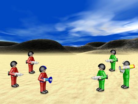 suelo arenoso: Soldados de juguete en el paisaje soleado Foto de archivo
