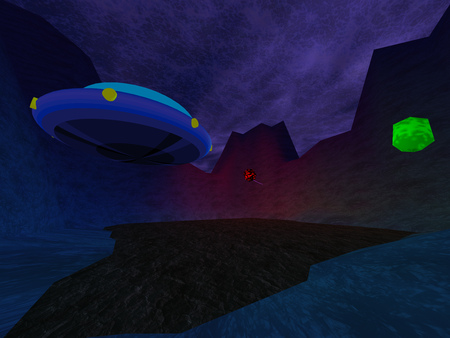 creepy alien: Dark crater with UFO in mountains background