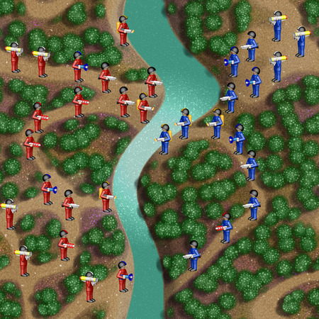 soldiers: Toy soldiers in river landscape
