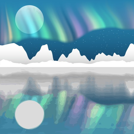 horizon reflection: Arctic pole vector landscape with aurora borealis