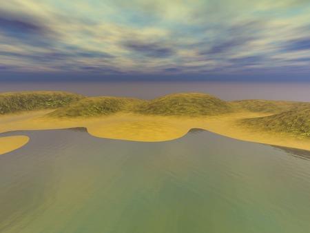 murky: Coast golden sands, 3D illustration