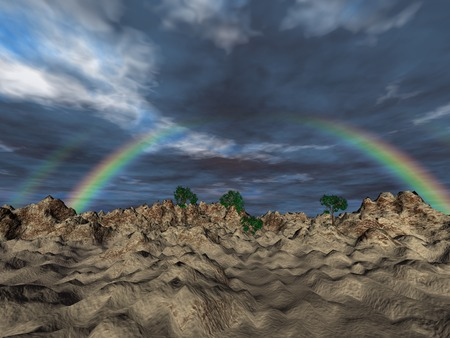 3d rainbow: Landscape with rainbow, 3D illustration