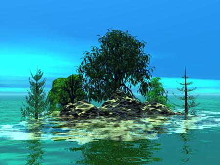 mountainous: Mountainous little island with trees, 3D illustration