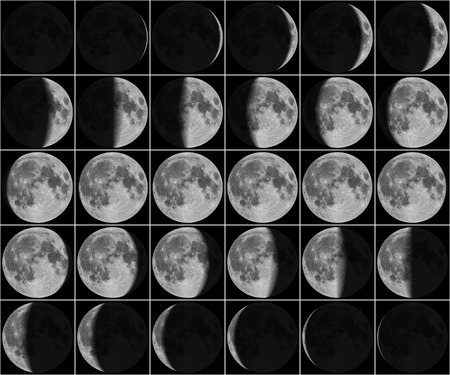 Moon 30 day phases Archivio Fotografico