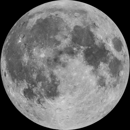 illustrated: Full Moon, photo combined with illustrated craters, isolated on black background Stock Photo