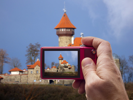 most: Castle Hnevin in city Most in camera viewfinder, Czech Republic