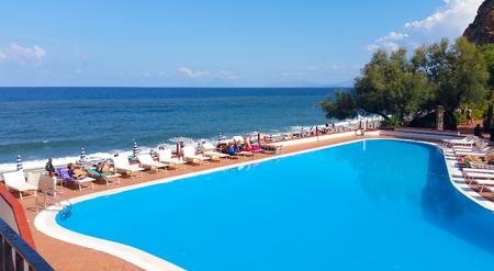Capo Calava, Sicily, Italy - SEPT 5, 2016: Capo Calava is popular recreational tourist center.