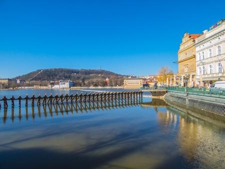 Prague panorama with Vltava river, Czech Republic