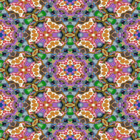 Spot kaleidoscopic seamless generated hires texture or background Stock Photo