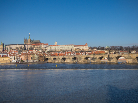 Prague panorama with Vltava river, Czech Republic