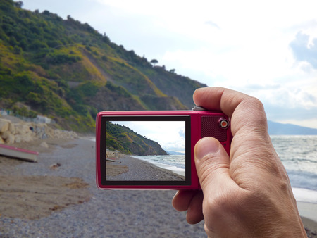 Gulf of Capo Calava at Sicily in camera viewfinder Stock Photo