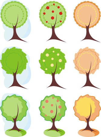 Symbolic image of trees to design, icons Illustration