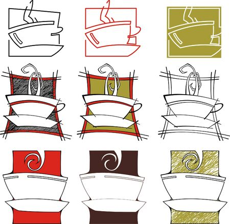 symbolic image of cups of tea and coffee Illustration