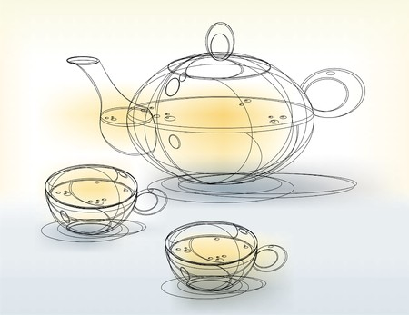 teakettle: Teapot and Cups Sketch