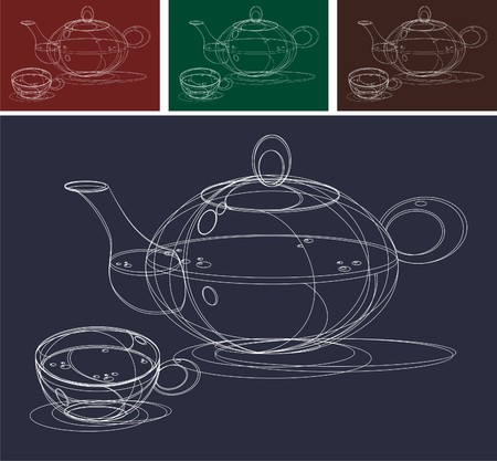 spout: Teapot and Cups Sketch