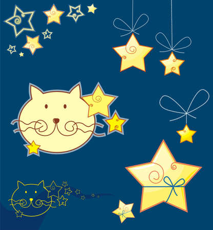 cat and star Vector