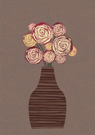 flowers in vase: floral still life Illustration