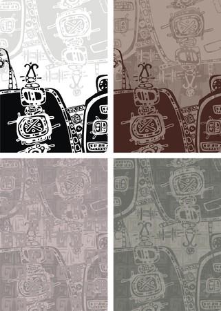 mayan culture: Aztec background Illustration