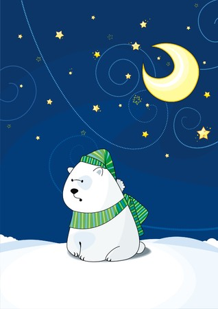 polar bear is in a scarf and cap Illustration