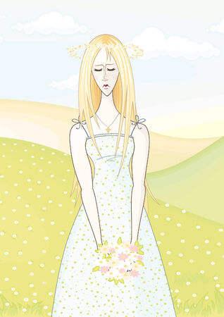 blonde teenage girl: woman Illustration