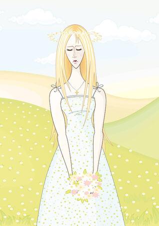 modesty: woman Illustration