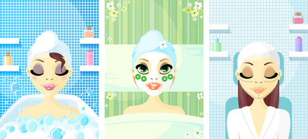Spa Girl set with Face Mask Stock Vector - 8008686