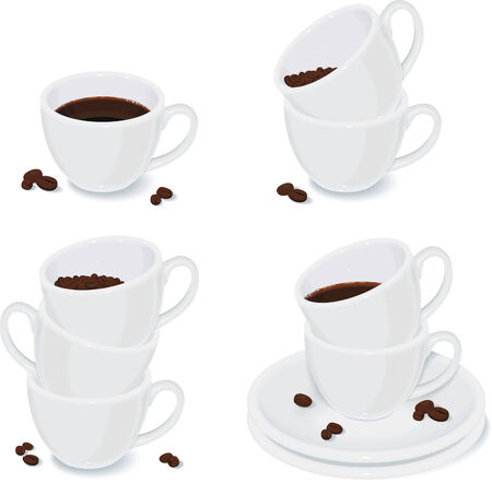 saucer: Set of white cups Illustration