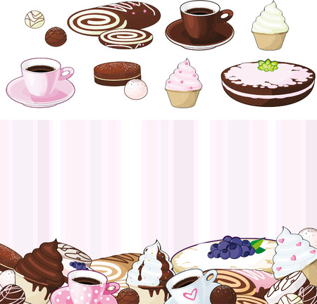 set of desserts, sweetnesses and baking  Vector