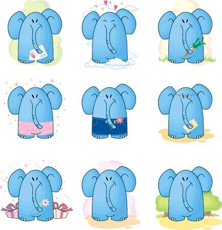 collection Cartoon Elephants Stock Vector - 9841650