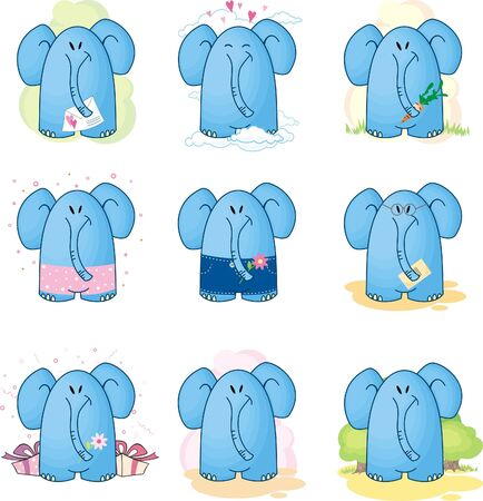 collection Cartoon Elephants Stock Vector - 9841650