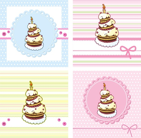 cards set with holiday cake Illustration