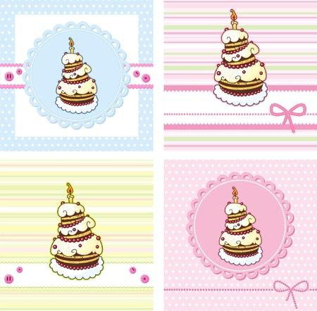 postres: tarjetas con pastel de vacaciones