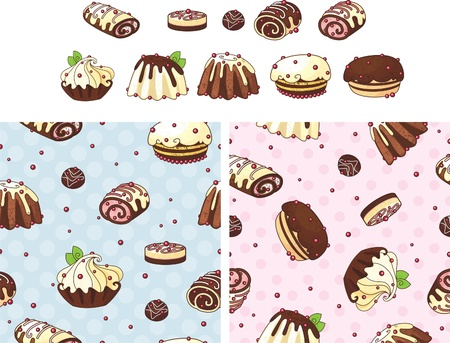 Holiday cakes set Vector