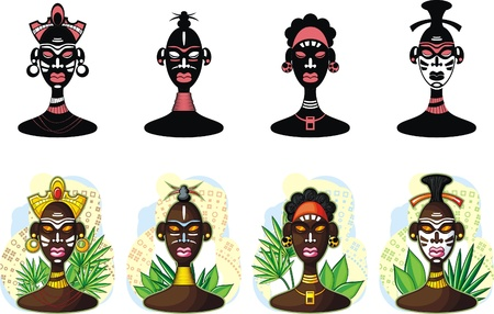 african woman face: Popolo africano, rappresentante della trib� Vettoriali