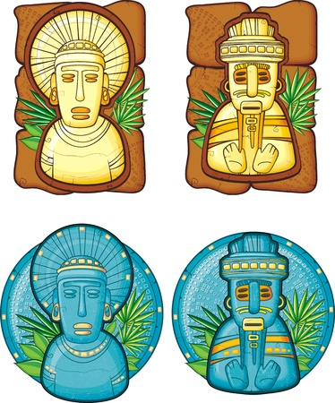 Set of aztecs masks Vector