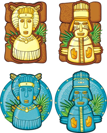 inca: Set of aztecs masks