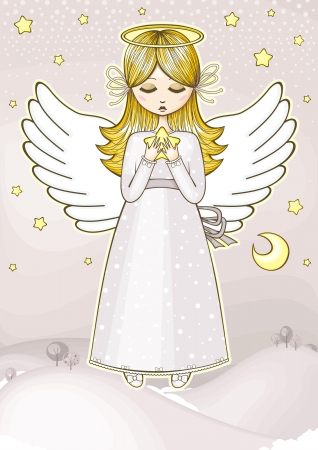 Angel with a star Stock Vector - 16263409