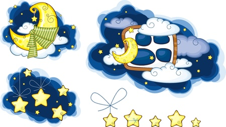 Moon Stars And Clouds set Vector