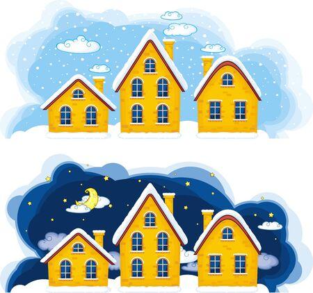 tag und nacht: Vector Illustration Weihnachten Vororten