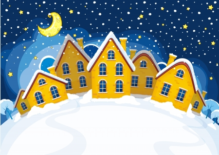 Vector illustration of Christmas suburbs Illustration