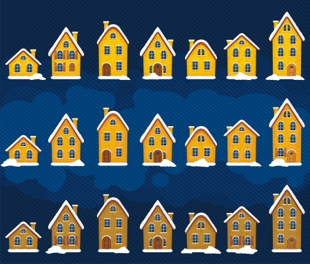 Set of winter houses Vector