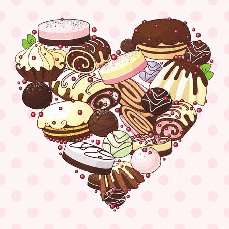 heart of sweets  Stock Vector - 18412370