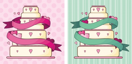 weddings  background with the wedding cake Stock Vector - 18689550